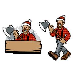 cartoon happy lumberjack worker vector image