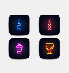 Champagne beer bottle and takeaway icons wine vector