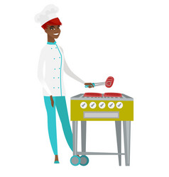 Chef cook cooking steak on barbecue grill vector