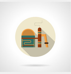 Chemical plant flat round icon vector