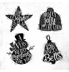 Christmas silhouettes star vector