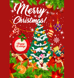 christmas tree with holiday gifts vector image