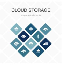 cloud storage infographic 10 option color design vector image