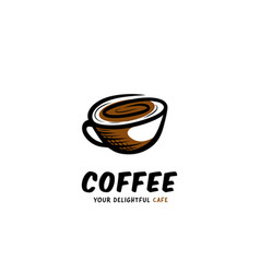 Coffee cup cafe logo in doodle style handrawing vector
