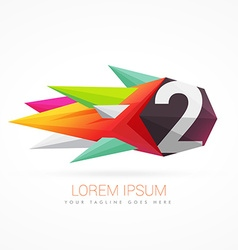 colorful abstract logo with number 2 vector image