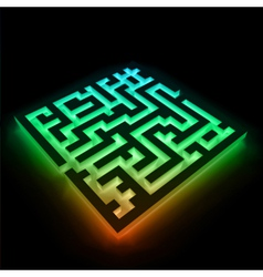 Colorful maze labyrinth on black background vector