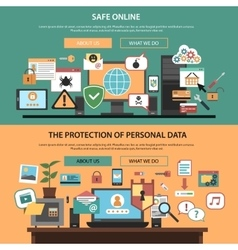 Computer safety horizontal banners set flat vector
