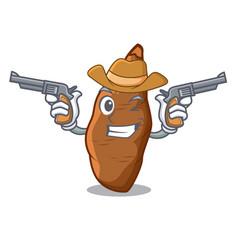 Cowboy character cassava in the market fruit vector