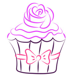 cupcake with rose drawing on white background vector image