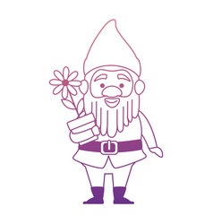 cute gnome with flower plant character vector image