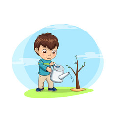 Cute little boy waters young sprout of tree vector