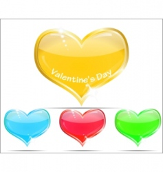 Decorative glass hearts vector