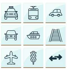 Delivery icons set collection of automobile car vector