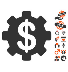 development cost icon with dating bonus vector image