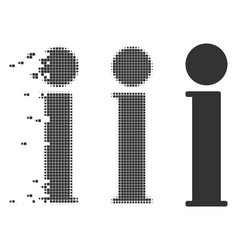 Disappearing pixel halftone information icon vector