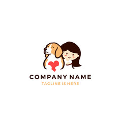 dog love with little girl logo icon template vector image