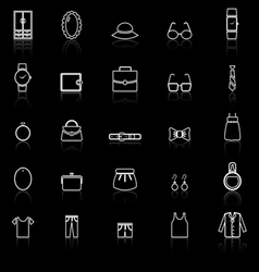 Dressing line icons with reflect on black vector image
