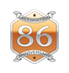 Eighty six years anniversary celebration silver vector image