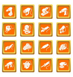 electric tools icons set orange square vector image