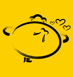 Emoticon carefree with a heart on a yellow vector