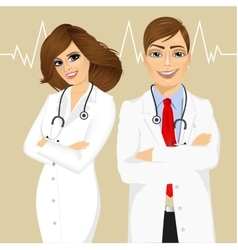 Experienced male and female doctors vector