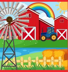 farm scene with rainbow in sky vector image