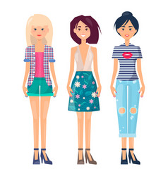 fashionable girls set summer mode collection cloth vector image
