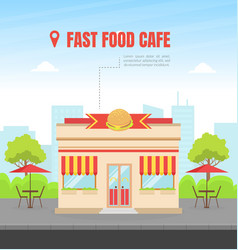 fast food building facade view city street vector image