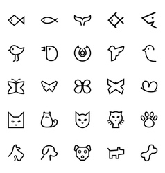 Fishes birds butterflies cats and dogs icons vector