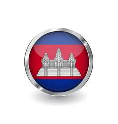 flag of cambodia button with metal frame and vector image