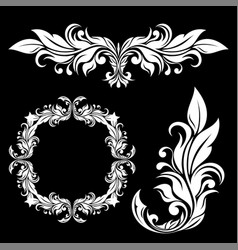 floral ornamental decorations on black background vector image