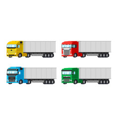 four different color trucks for delivery goods vector image