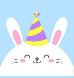 Funny cartoon card with hare happy character vector