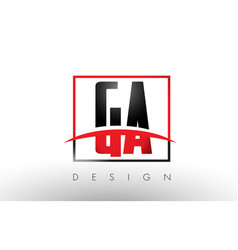 ga g a logo letters with red and black colors and vector image
