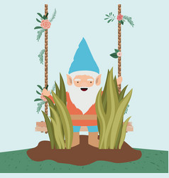 Gnome character in the garden with label wooden vector