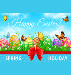 happy easter holiday poster decorated eggs vector image