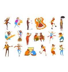happy elderly people performing different vector image