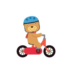 Happy little bear riding a red bike vector