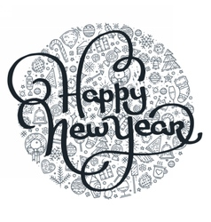 Happy New Year black and white lettering vector image
