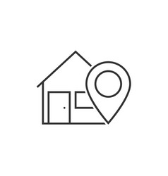 Home location line icon vector