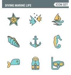 Icons line set premium quality of diving marine vector image