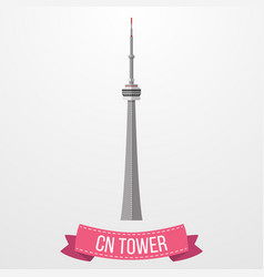 Ikon cn tower dengan latar belakang putih vector