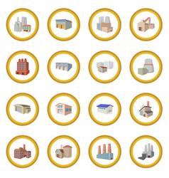 Industrial building factory icon circle vector