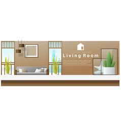 Interior design table top and modern living room vector