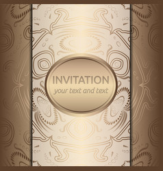 invitation card with golden ornaments vector image