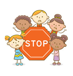Kids with stop sign vector