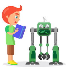 Little boy with book looks at robot vector