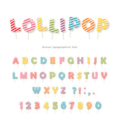 Lollipop candy glossy font design colorful abc vector
