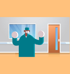 male doctor surgeon wearing surgical gloves mask vector image