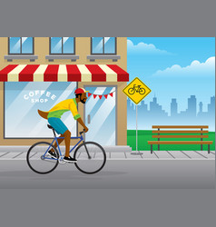 man cycling in city vector image